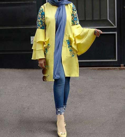 مدل مانتو اسپرت دخترانه مجسی آستین مدل دار جلو باز کوتاه