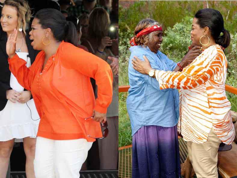 اپرا وینفری در لباس های رنگارنگ کژوال