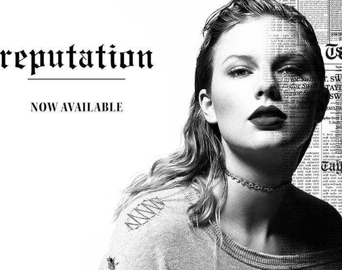 تصویری از تیلور سویفت در بخش فروشگاهی سایتش که امکان خرید آنلاین آلبوم جدید با نام REPUTATION