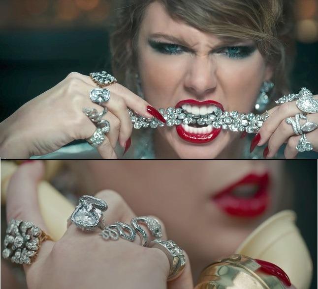 جواهراتی که تیلور سویفت در ویدیو کلیپ: WHAY YOU MAKE ME DO بر تن داشت