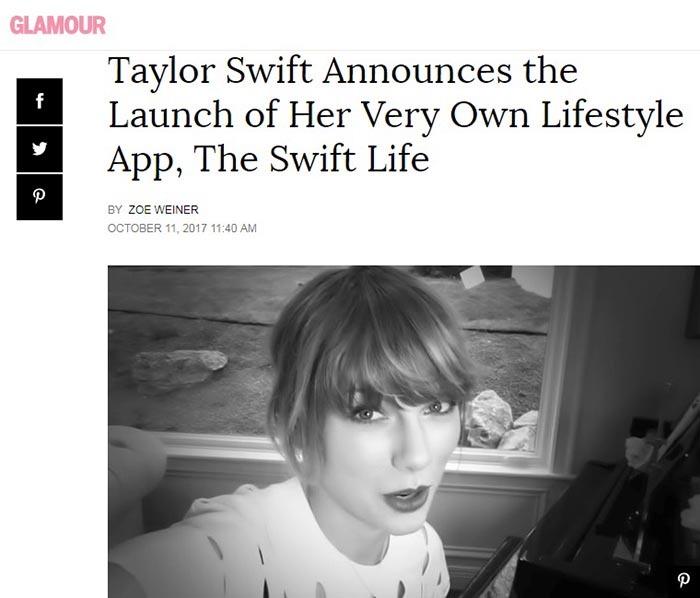 راه اندازی اپلیکیشن لایف استایل تیلور سویفت به نام THE SWIFT LIFE