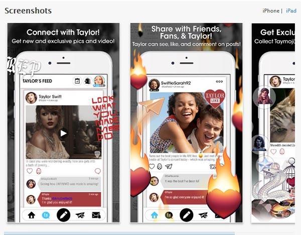 اسکرین شاتی از محیط اپلیکیشن اختصاصی به نام تیلور سویفت