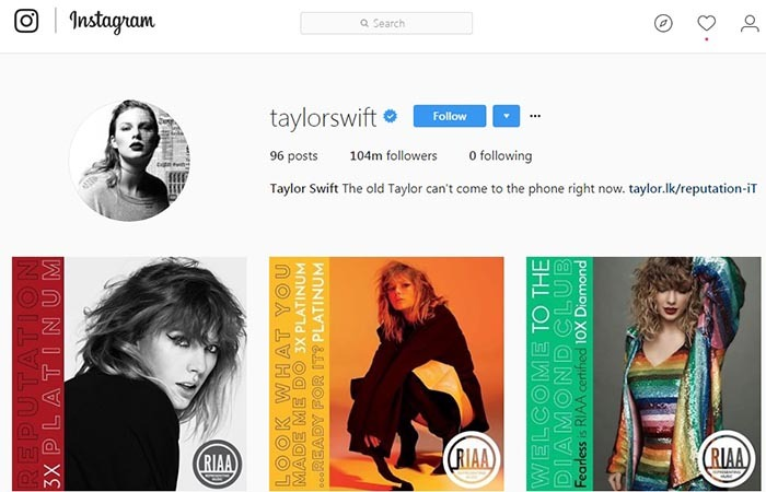 تصویر صفحه اینستاگرامی تیلور سویفت که هیچ صفحه ای را مانند Adele و Beyonce