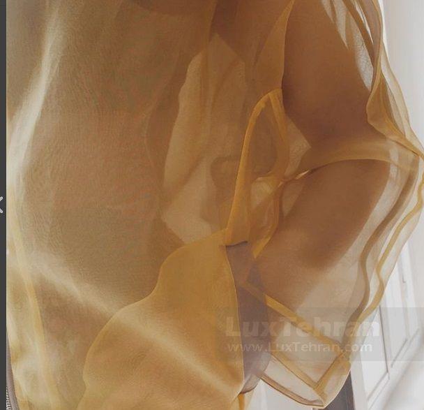 گلناز آشتیانی پارچه اورگانزا ابریشمی زرد و خاکستری
