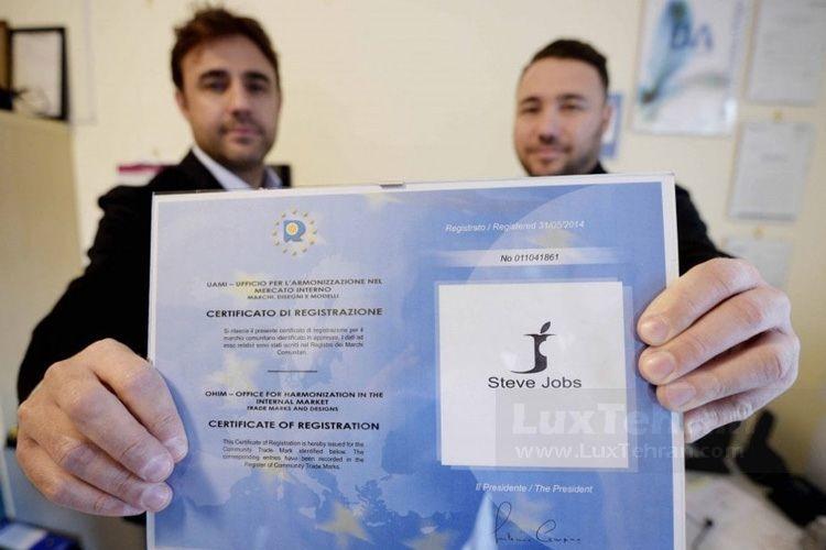 گواهی ثبت STEVE JOBS توسط دو برادر جوان ایتالیایی