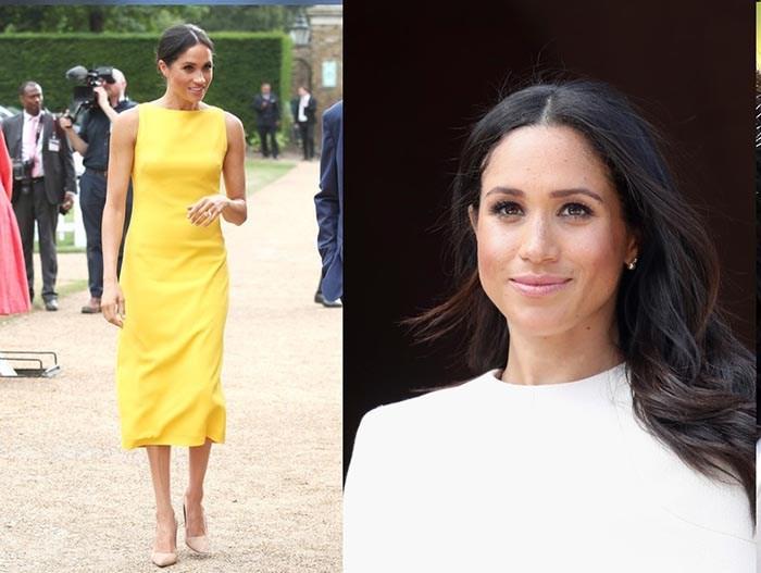 مگان مارکل لباس زرد رنگ بدون آستین بلندی از برند BRANDON MAXWELL کفش او نیز از برند MANOLO BLAHNIK