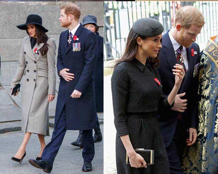 مگان مارکل با لباس های رسمی در کنار شاهزاده هری