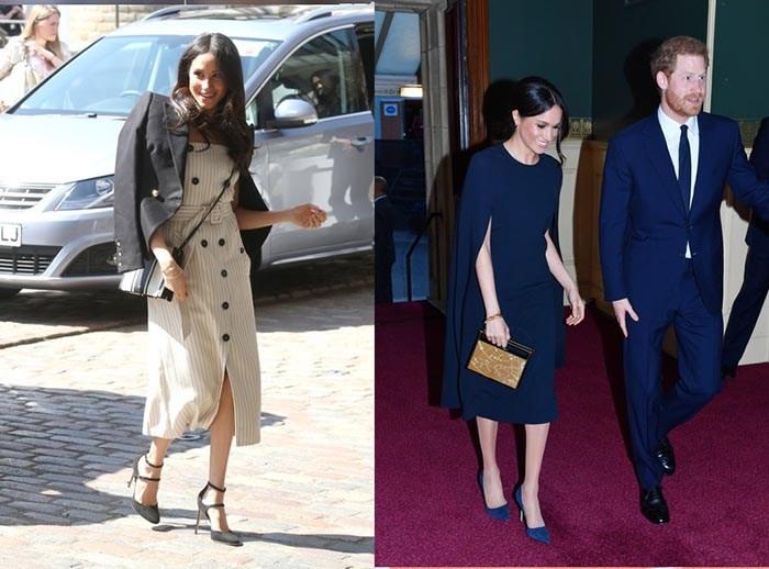 مگان مارکل با کفشی مشکی رنگ از برند TAMARA MELLON و لباسی از برند ALTUZARRA