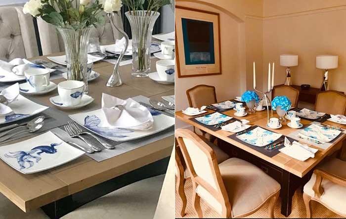 تصویری از ۲ میز غذا خوری متفاوت که طراحی بشقاب و چنگال و قاشق و میز توسط برند ورساچه