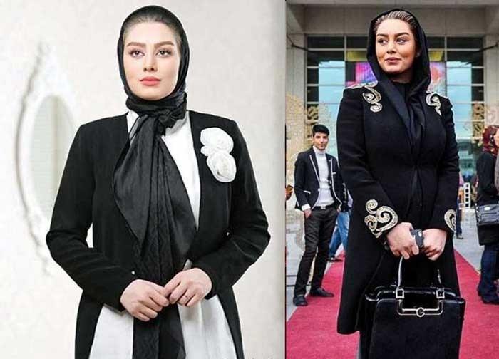 از کالکشن مانتوهای مشکی طرح دار سحر قریشی در جشنواره فیلم فجر