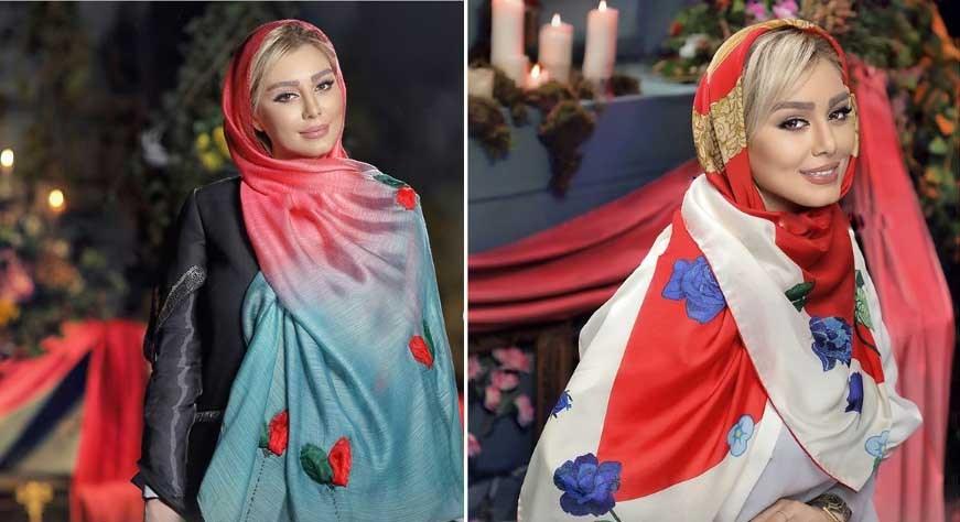 جدید ترین تصویر از مدل مانتو و روسری های رنگارنگ و شیک و جذاب سحر قریشی