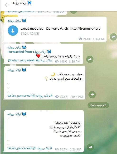 تصویر شماری از پست هایی که این هنرپیشه جوان در تلگرامش منتشر میکند