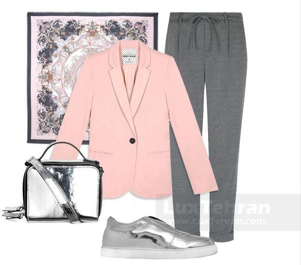 ترکیب طوسی و صورتی تابستانی برای استایل کژوال