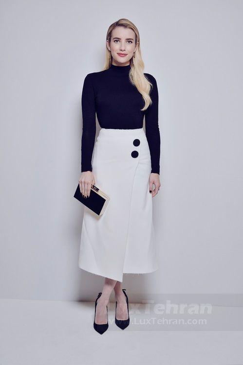 مونوکروم جذاب سفید و مشکی که EMMA ROBERTS از محصولات جدید خانه مد BOSS در فشن شو نیویورک