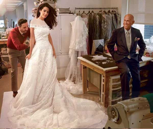 لباس عروس امل عمل الدین، همسر جورج کلونی از اسکار دلارنتا