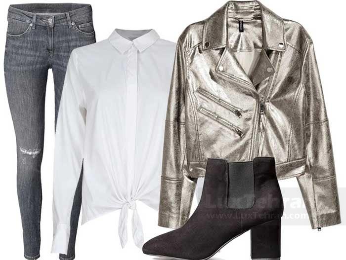 پیشنهاد استایل کژوال شیک به بانوان جوان: شومیز سفید رنگ گره دار با شلوار جین زیپ دار خاکستری
