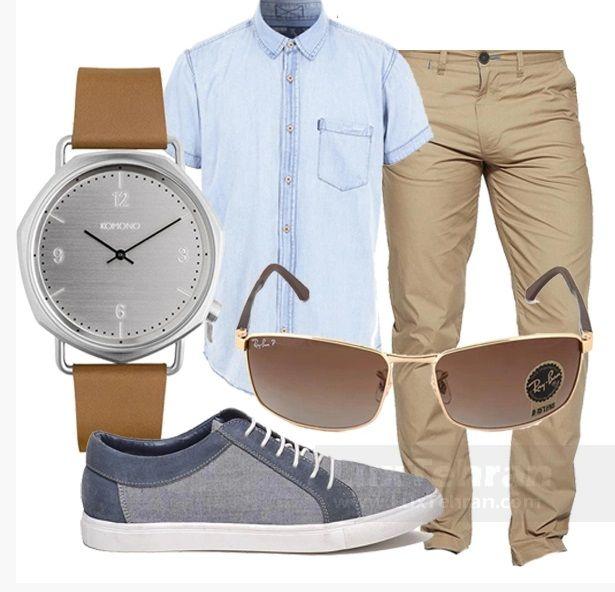 ست پیشنهاد کژوال به پسران خوش تیپ: شلوار کتان کرم نسکافه ای با پیراهن جین آبی رنگ و کفش طوسی-آبی