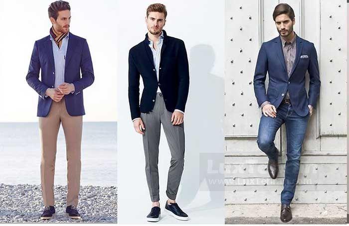 کت تابستانی با شلوار جین آبی تیره استایل کژوال