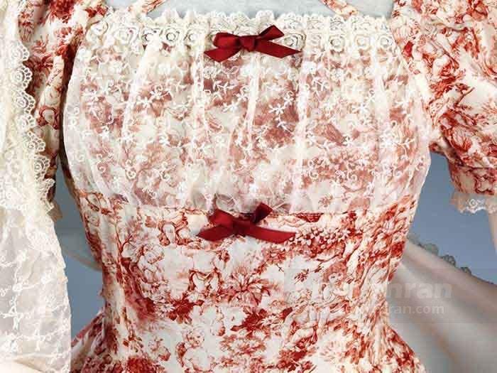 لباس عروسکی طرح گل دوزی، گیپور و تور و زبان قرمز و سفید لولیتا کلاسیک