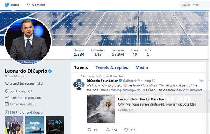 صفحه توییتر لئوناردو دی کاپریو در نشانی: @leodicaprio