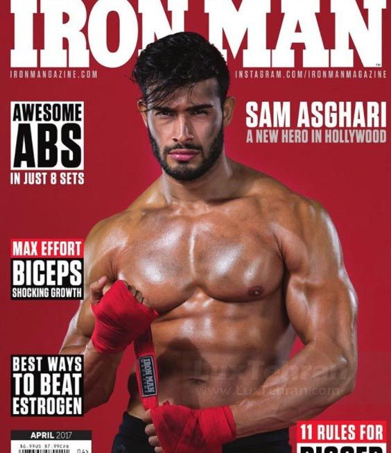 تصویر سام اصغری به عنوان بدنساز ایرانی روی جلد مجله IRON MAN