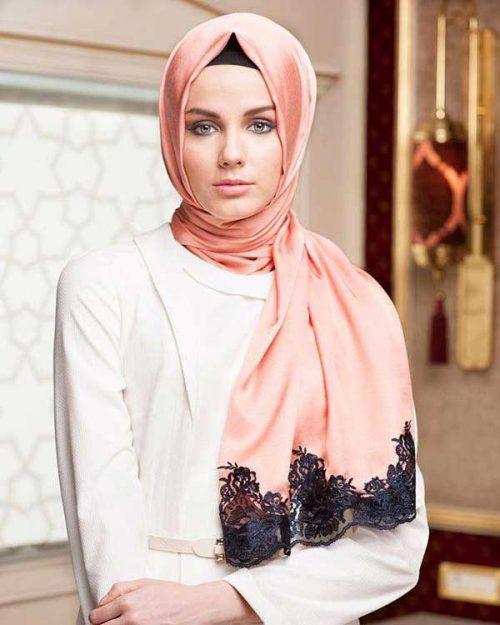 روسری مدل گیپور دار و کرپ
