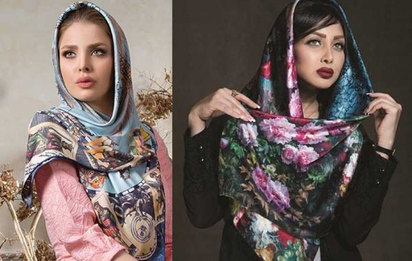 روسری مدل های حریر و ساتن گل دار