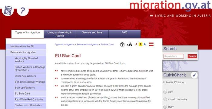 سایت رسمی اتریش دریافت بلو کارت این کشور