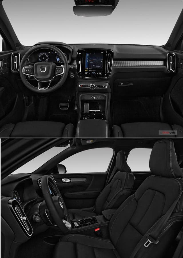 داشبورد و دکوراسیون داخلی مشکی رنگ زیبا خودرو ولورو ایکس سی چی ۲۰۱۹