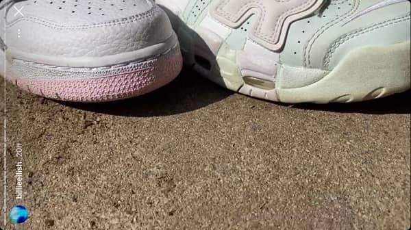 استوری های بیلی آیلیش برای اثبات رنگ مور نظرش برای کفش