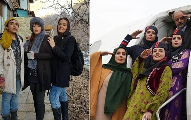 از کلکسیون لباس های درخشان هدیه بازوند و خواهرانش در نون خ و عکسی از استایل او در پشت صحنه سریال